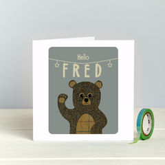 'Hello,Baby',Tweed,Teddy,Bear,-,New,Baby,Card,tweed teddy bear new baby country chic card