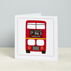 New,Baby,London,Bus,Card,Personalised New Baby Bus Card
