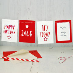 Personalised,Bunting,Any,Age,Birthday,Card,Bunting Birthday Card Any Age Personalised