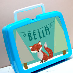 Personalised,Tweed,Fox,Lunchbox,Personalised Children's Packed Lunch Box Traditional Retro Fox