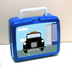 Personalised,Black,Cab,Taxi,Lunch,Box,Personalised Children's Packed Lunch Box Traditional Retro Taxi Black Cab