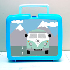 Personalised,Campervan,Lunch,Box,Personalised Children's Packed Lunch Box Traditional Retro Camper Van