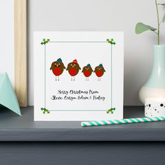 Personalised,Robin,Family,Christmas,Cards,Personalised family, Christmas robin family Cards