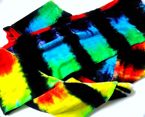 Long,Slinky,Hand,Dyed,Silk,Velvet,Scarf,Rainbow,Night,Accessories,bright,striped,colorful,tasrete