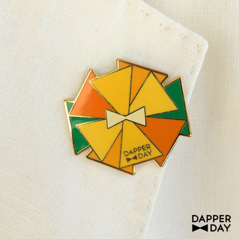 DAPPER,DAY,Bow,Tie,Flower,Lapel,Pin,,Orange