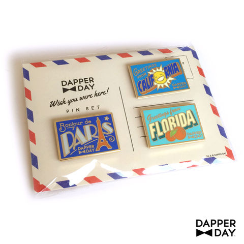 DAPPER,DAY,Postcard,Pin,Set,postcard lapel pin Dapper Day