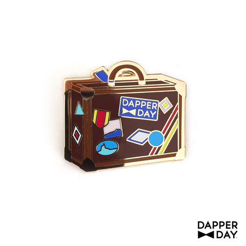 DAPPER,DAY,Luggage,Lapel,Pin,,Brown,lapel pin Dapper Day