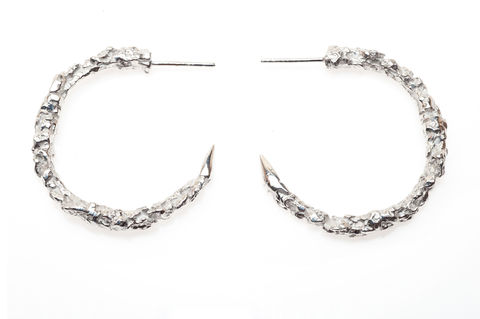 Large,Silver,Thorn,Hoop,Earrings,silver, gold, texture, hoop, earrings, ros millar, british handmade, fortress