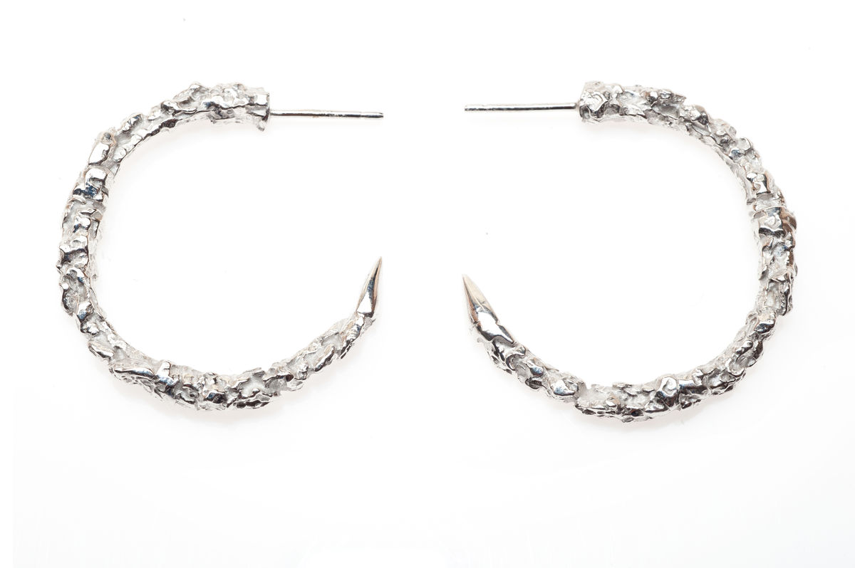 Large Silver Thorn Hoop Earrings - product images  of
