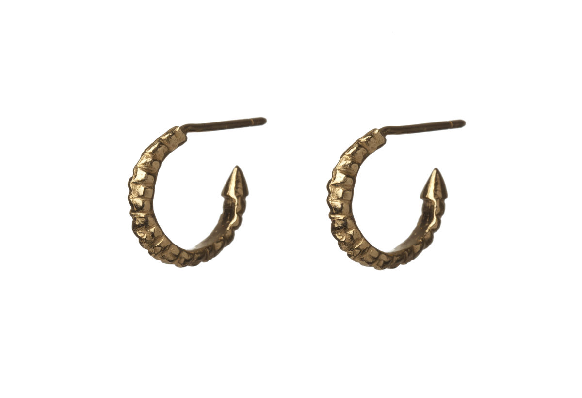 Mini Gold Thorn Hoop Earrings