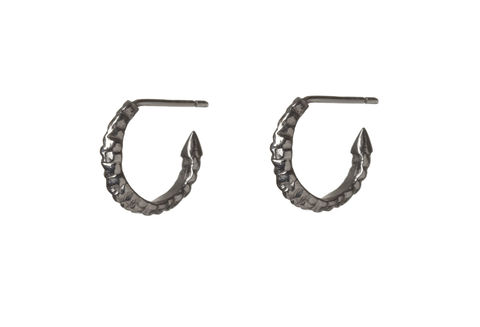 Mini,Silver,Thorn,Hoop,Earrings,black, silver, gold, texture, hoop, earrings, ros millar, british handmade, fortress