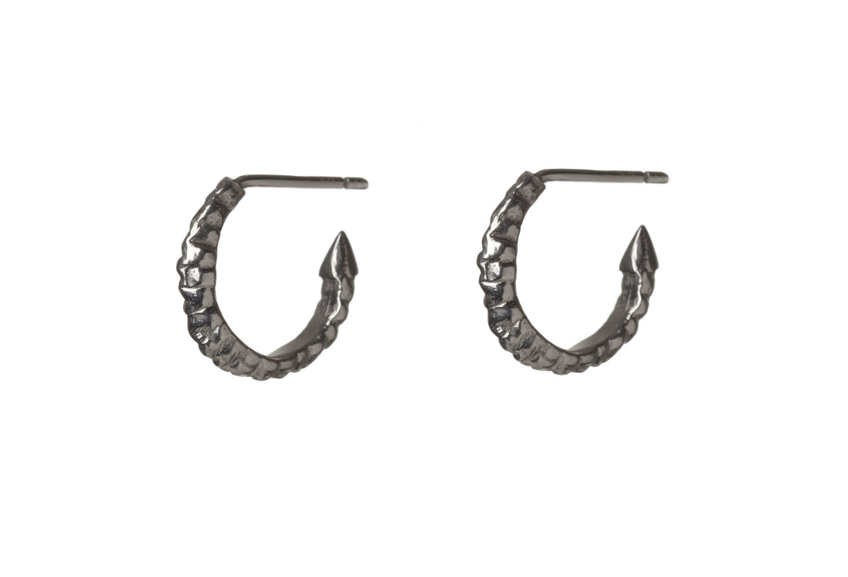 Mini Silver Thorn Hoop Earrings