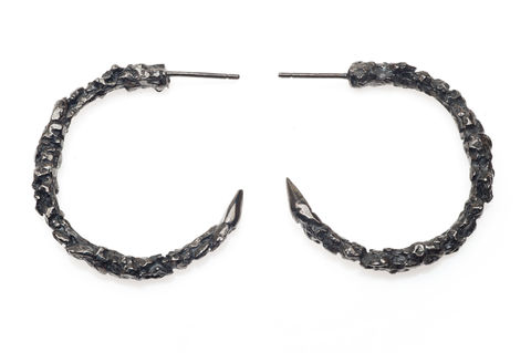 Large,Black,Thorn,Hoop,Earrings,black, silver, gold, texture, hoop, earrings, ros millar, british handmade, fortress