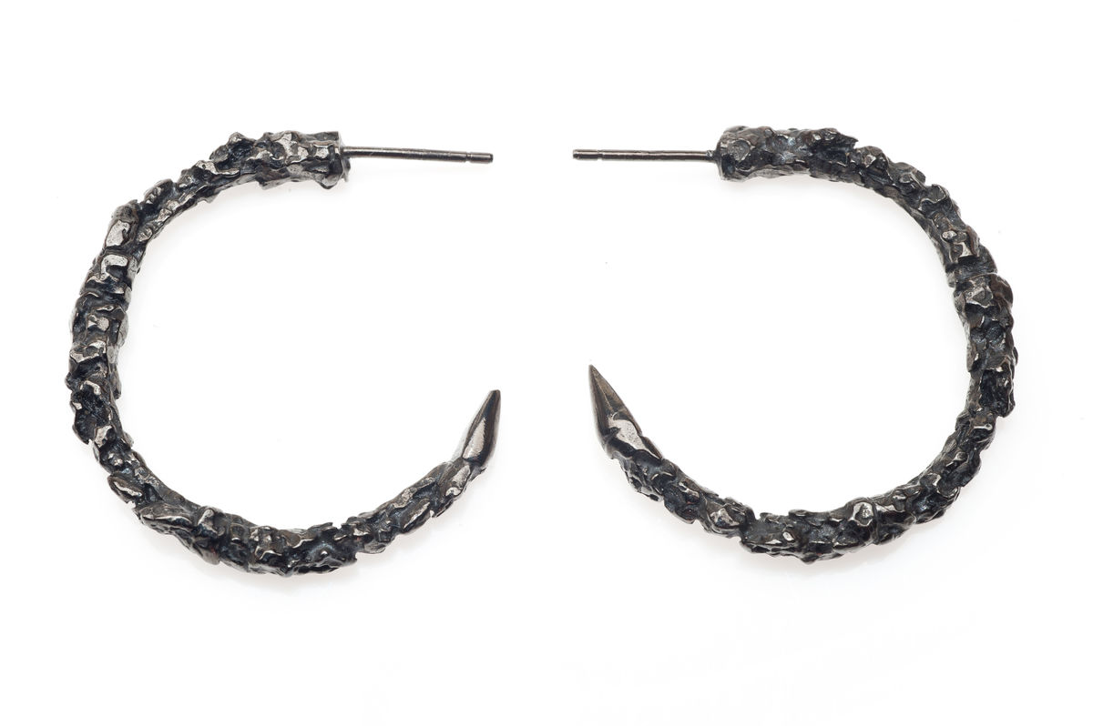 Large Black Thorn Hoop Earrings - product images  of