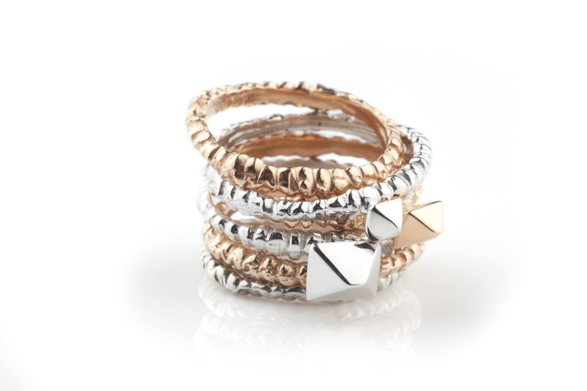 White & Rose Meteor Band Stack - product image