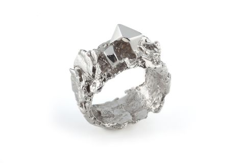 White,Meteorite,Ring,meteoroid band, textured rings, white rhodium plated silver.
