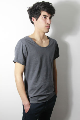 Premium,:,Charcoal,trikki, speckled, flecked, designer, scoop neck, low cut, wide collar, indie, festival, premium, t-shirt, fashion, style