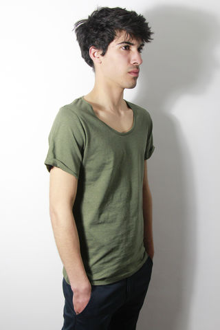 Premium,:,Khaki,trikki, speckled, flecked, designer, scoop neck, low cut, wide collar, indie, festival, premium, t-shirt, fashion, style