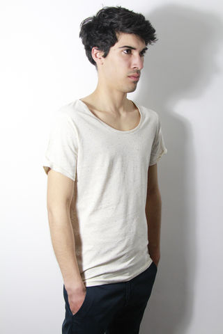Premium,:,Ecru,trikki, speckled, flecked, designer, scoop neck, low cut, wide collar, indie, festival, premium, t-shirt, fashion, style