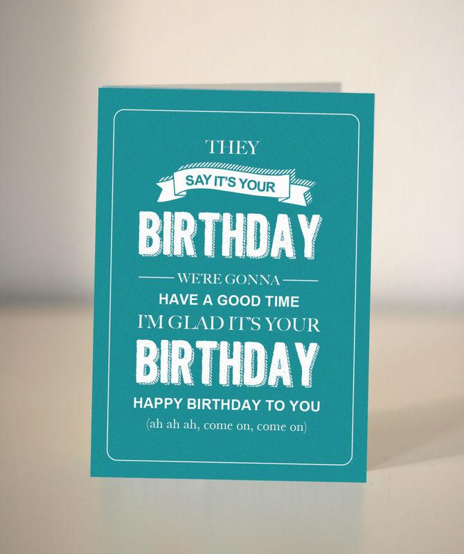 funny birthday card  bespoke birthday card  they say its your, Birthday card