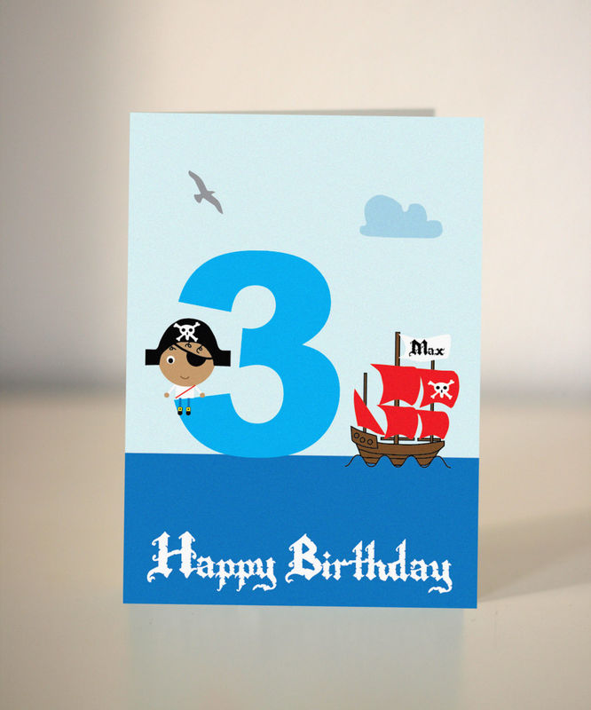 Pirate Birthday Card for little boys or girls Dickens ink – Birthday Cards for Little Boys