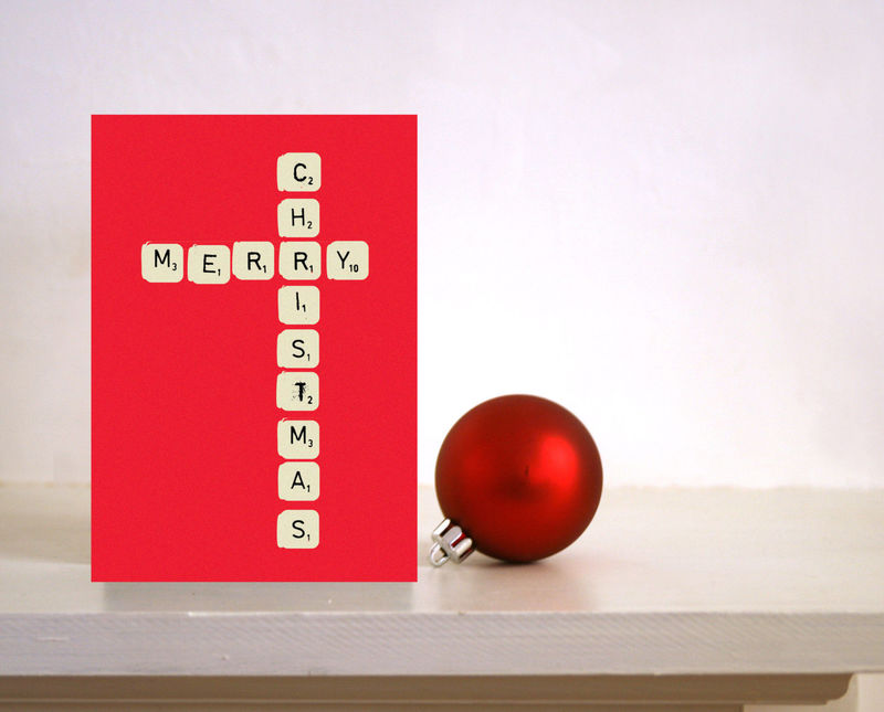 Scrabble Christmas card - Merry Christmas - card for Husband / wife ...