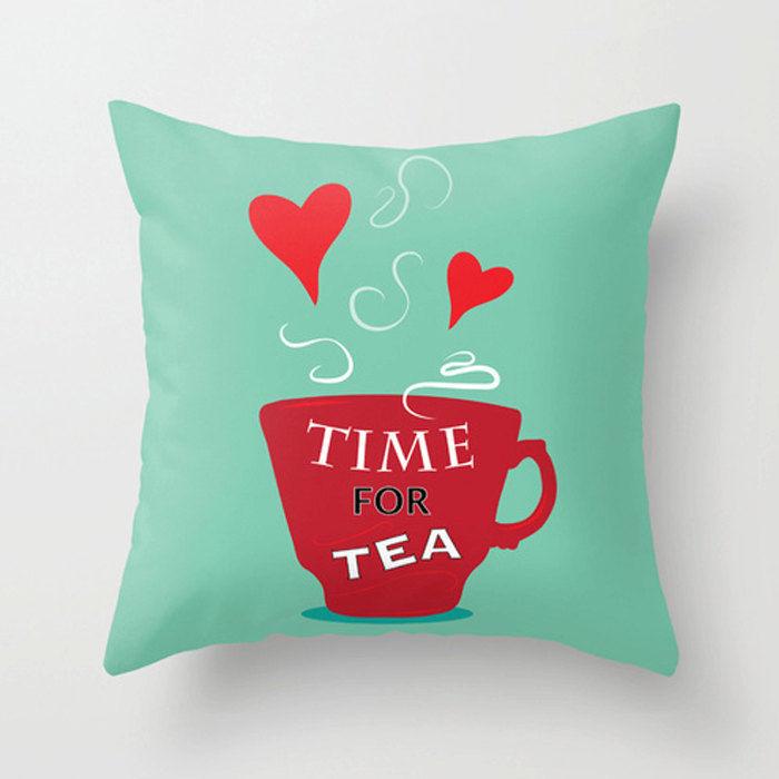 Modern Pillows Decorative : Time for tea - Modern pillow - decorative pillow/cushion - Dickens ink.
