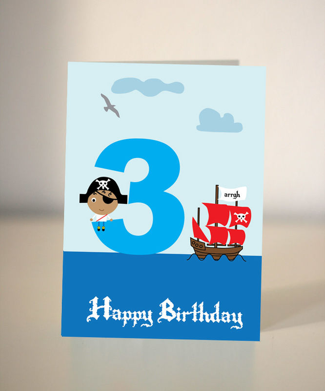 Pirate Birthday Card For Boy 5th Birthday Dickens Ink