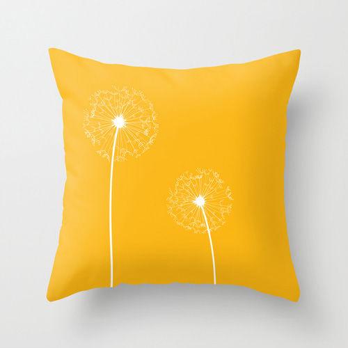 Yellow Dandelion Cushion - with insert - Free UK Shipping ...