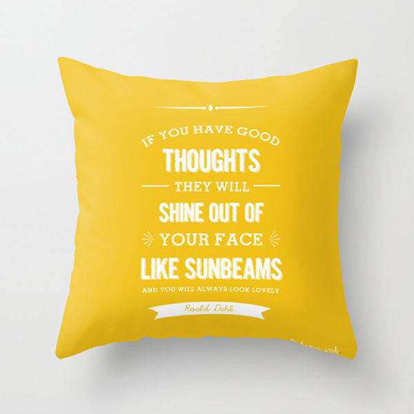 roald dahl quote good thoughts yellow throw pillow