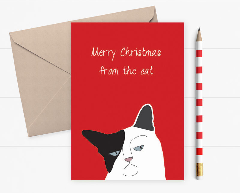 Funny Christmas card - Grumpy cat Christmas card - card for Husband ...