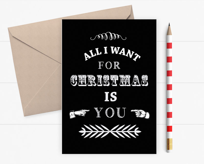 Christmas card - all I want for Christmas is you - Chalkboard card ...