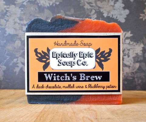Witch's,Brew,Cold,Process,Soap,-,Vegan,Fall,and,Halloween,Bath_And_Beauty,soap,cold_process_soap,handmade_soap,epically_epic_soap,soap_bar,homemade_soap,holiday_soap,cp_soap,witch_soap,halloween_soap,orange_and_black,witches_brew,fall_soap,olive oil,organic palm kernel oil,castor oil,sodium hydroxide,water