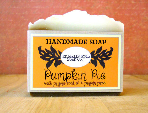 Pumpkin,Pie,Cold,Process,Soap,-,Vegan,Halloween,and,Fall,Scent,Bath_And_Beauty,vegan,olive_oil,soap,cold_process_soap,handmade_soap,organic_oils,epically_epic,pumpkin_soap,pumpkin_pie,lye_soap,thanksgiving,holiday,pumpkin_pie_soap,olive oil,organic coconut oil,organic sunflower oil,organic palm kernel oil,castor