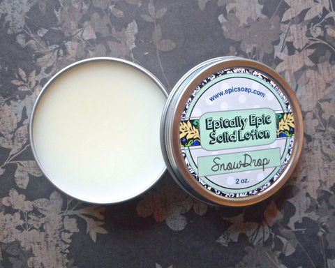 Snowdrop,Many,Purpose,Solid,Lotion,-,Limited,Edition,Winter,Holidays,Scent,Bath_And_Beauty,hand_cream,body_butter,lotion_bar,epically_epic,solid_lotion,vegan_lotion,fall_collection,christmas_scent,snowdrop_lotion,snow_scent,snow_flower,clean_cotton,stocking_stuffer,macadamia butter,jojoba,candelilla wax,coconut oil,olive squalan