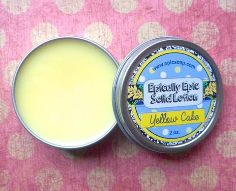Yellow,Cake,Many,Purpose,Solid,Lotion,Bath_And_Beauty,handmade_lotion,hand_cream,body_butter,cuticle_butter,travel_size,skin_care,moisturizer,sweet_scent,for_dry_skin,lemon_cake,epic_retro,vegan_lotion,solid_lotion,macadamia nut butter,jojoba seed oil,candelilla wax,olive squalane,fragrance,v