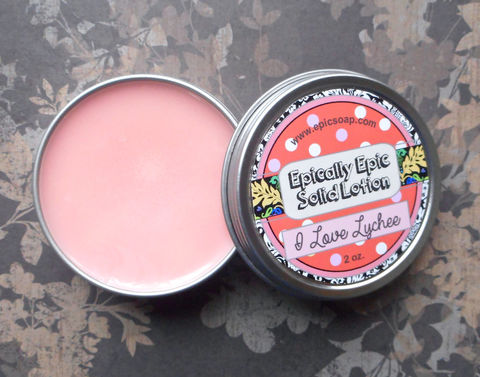 I,Love,Lychee,Many,Purpose,Solid,Lotion,Bath_And_Beauty,hand_cream,solid_perfume,body_butter,cuticle_butter,lotion_bar,salve,travel_size,litchi,no_preservatives,etsy_lotion,vegan_lotion,tropical_fruit,lychee_lotion,macadamia butter,jojoba seed oil,candelilla wax,olive squalane,fragrance,vitamin