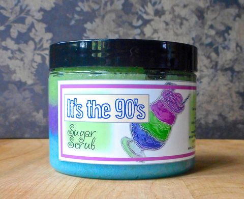 It's,the,90's,Sugar,Scrub,8,oz,Bath_And_Beauty,Soap,sugar_scrub,body_scrub,epically_epic_soap,natural_scrub,exfoliating_scrub,vegan_sugar_scrub,parfait_sugar_scrub,favorite_things,nineties_scents,juniper_breeze,freesia_sugar_scrub,fresh_cut_grass,limelight_90's,cane sugar,turbinado sug