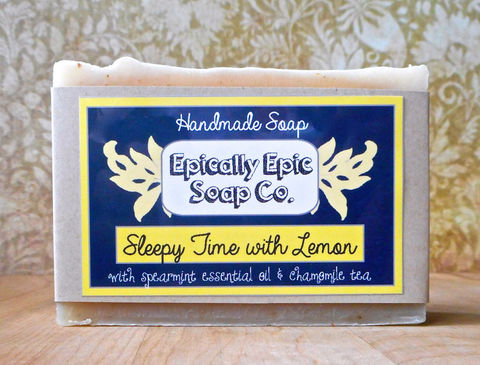 Sleepy,Time,with,Lemon,Cold,Process,Soap,-,Vegan,Handmade,Chamomile,Tea,,Spearmint,,Bath_And_Beauty,soap,cold_process_soap,handmade_soap,epically_epic_soap,natural_soap,favorite_things,vegan_soap,for_men,tea_soap,chamomile_tea_soap,sleepy_time_soap,lemon_soap,spearmint_soap,olive oil,organic palm kernel oil,castor oil,sodium hydroxi