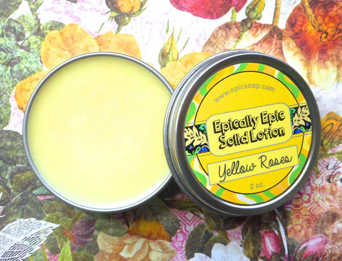 Yellow,Roses,Many,Purpose,Solid,Lotion,-,Rose,Absolute,,Citrus,,Raspberry,,Whipped,Cream,,Tobacco,Leaf,Bath_And_Beauty,hand_cream,solid_perfume,cuticle_butter,solid_lotion,vegan_lotion,epically_epic,vegan,lotion_bar,rose_lotion,yellow_rose,age_of_innocence,lemon_rose_scent,edith_wharton,macadamia butter,candelilla wax,jojoba,olive squalane,fragrance,vitami