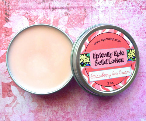 Strawberry,Ice,Cream,Many,Purpose,Solid,Lotion,Bath_And_Beauty,hand_cream,solid_perfume,cuticle_butter,solid_lotion,vegan_lotion,epically_epic,travel_lotion,lotion_bar,gourmand_scent,favorite_things,strawberry_lotion,strawberry_ice_cream,berry_scented,macadamia butter,candelilla wax,jojoba,olive squal
