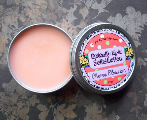 Cherry,Blossom,Many,Purpose,Solid,Lotion,Bath_And_Beauty,hand_cream,solid_perfume,cuticle_butter,solid_lotion,vegan_lotion,epically_epic,travel_lotion,vegan,lotion_bar,cherry_blossom,sakura,fruity_floral,lotion_tin,macadamia butter,candelilla wax,jojoba,olive squalane,fragrance,vitamin e,coconut