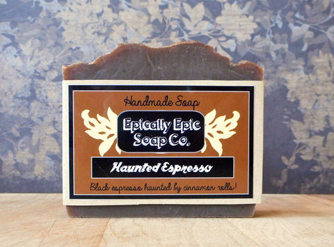Haunted,Espresso,Cold,Process,Soap,-,Vegan,Fall,and,Halloween,Bath_And_Beauty,soap,cold_process_soap,handmade_soap,epically_epic_soap,bar_soap,natural_soap,vegan_soap,winter_soap,gift_soap,cinnamon_roll_soap,coffee_soap,espresso_soap,fall_spice_soap,olive oil,organic palm kernel oil,castor oil,sodium hydroxide
