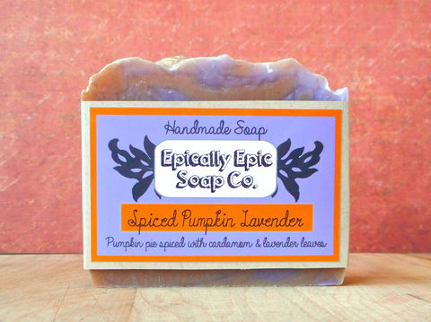 Spiced,Pumpkin,Lavender,Cold,Process,Soap,-,Vegan,Handmade,Bath_And_Beauty,soap,cold_process_soap,handmade_soap,epically_epic_soap,bar_soap,natural_soap,vegan_soap,gift_soap,fall_spice_soap,lavender_soap,pumpkin_lavender,pumpkin_pie_lavender,olive oil,organic palm kernel oil,castor oil,sodium hydroxide,water
