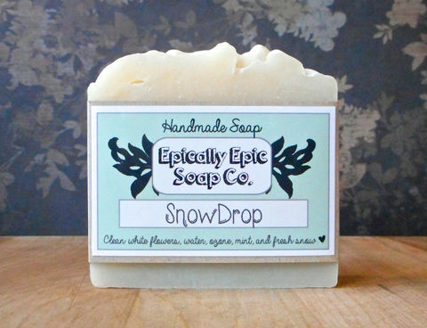 Snowdrop,Cold,Process,Soap,-,Vegan,Handmade,Bath_And_Beauty,soap,cold_process_soap,handmade_soap,epically_epic_soap,bar_soap,natural_soap,vegan_soap,winter_soap,snowdrop_soap,snow_soap,clean_scent_soap,white_soap,gift_soap,olive oil,organic palm kernel oil,castor oil,sodium hydroxide,water,fra