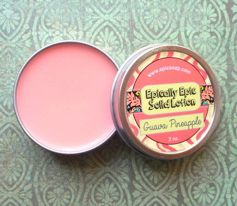 Guava,Pineapple,Many,Purpose,Solid,Lotion,-,Tropical,Fruit,and,Pink,Rose,Bath_And_Beauty,hand_cream,solid_perfume,cuticle_butter,solid_lotion,vegan_lotion,epically_epic,travel_lotion,lotion_bar,lotion_tin,island_heart,tropical_fruit,pink_rose,passionfruit,macadamia butter,candelilla wax,jojoba,olive squalane,fragrance,vitamin