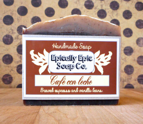 Café,con,Leche,-,Cold,Process,Soap,Vegan,Bath_And_Beauty,soap,cold_process_soap,handmade_soap,epically_epic,EE_soaps,cafe_con_leche,coffee_soap,vanilla_soap,espresso,island_heart,espresso_soap,island_soap,caribbean_soap,water,fragrance,coconut oil,olive oil,sodium hydroxide,palm kernel oil