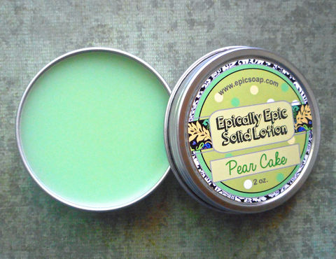 Pear,Cake,Many,Purpose,Solid,Lotion,-,Limited,Edition,It's,Still,Summer,Scent,Bath_And_Beauty,handmade_lotion,hand_cream,body_butter,lotion_bar,vegan,lotion,solid_lotion,vegan_lotion,still_summer,pear_lotion,white_cake_lotion,caramel,pear_scented,macadamia butter,jojoba,candelilla wax,coconut oil,olive squalane,essential oils,fragr