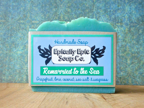 Remarried,to,the,Sea,Cold,Process,Soap,-,Vegan,Handmade,Salt,,Lime,,Coconut,,Grapefruit,,Seagrass,Bath_And_Beauty,soap,cold_process_soap,handmade_soap,epically_epic_soap,bar_soap,natural_soap,homemade_soap,favorite_things,aquatic_scent,ocean_soap,grapefruit_soap,beach_soap,still_summer,olive oil,organic palm kernel oil,castor oil,sodium hydroxide