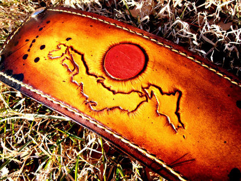 Custom,Leather,Cuff,Hand,Tooled,Japan,Jewelry,Bracelet,Hand_tooled,Leather_Cuff,Leather_Bracelet,rising_sun,leather,heavy duty snaps